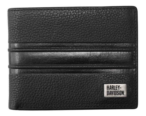 Harley-Davidson Men's Racer Stripe Genuine Leather Billfold Wallet RS6655L-BLACK - Wisconsin Harley-Davidson