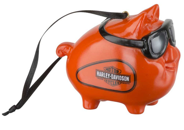 Harley-Davidson 2019 Hog w/ Goggles Hanging Ornament - Orange Finish HDX-99161 - Wisconsin Harley-Davidson