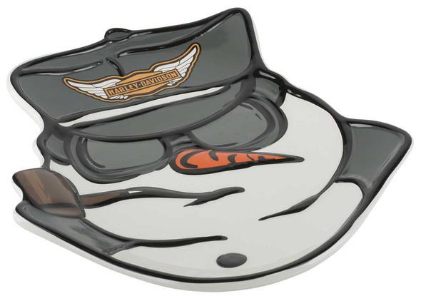 Harley-Davidson Custom Sculpted Biker Snowman Plate - White & Black HDX-99145 - Wisconsin Harley-Davidson
