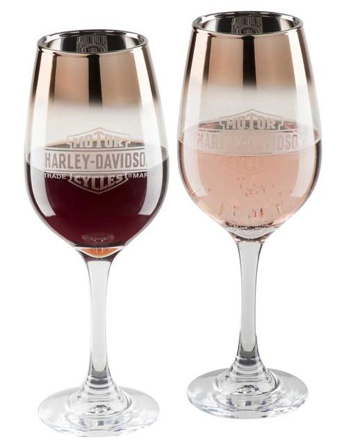 Harley-Davidson Copper Ombre Bar & Shield Wine Glass Set - 12 oz. HDX-98717 - Wisconsin Harley-Davidson