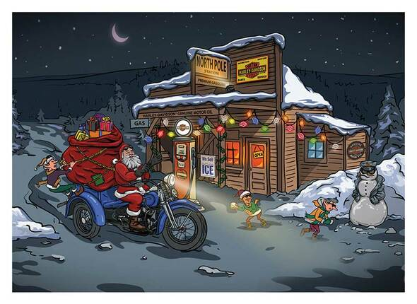Harley-Davidson Winter Biker Santa Boxed Holiday Cards - Set of 12 HDX-90016 - Wisconsin Harley-Davidson