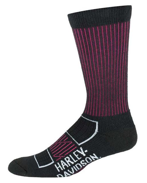 Harley-Davidson Women's Compression Moisture Wicking Riding Socks, Black/Pink - Wisconsin Harley-Davidson