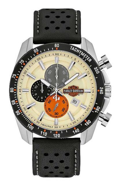 Harley-Davidson Men's Vintage B&S Chronograph Watch w/ Leather Strap 78B154 - Wisconsin Harley-Davidson