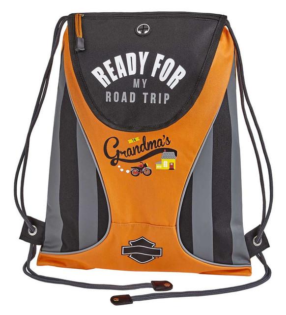 Harley-Davidson Kids' Sling Drawstring Backpack - Rust/Black or Black 99841 - Wisconsin Harley-Davidson