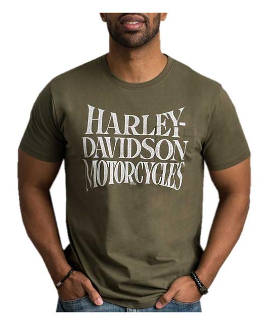 Harley-Davidson Men's Cracked & Distressed Chest Pocket Short Sleeve Tee, Green - Wisconsin Harley-Davidson