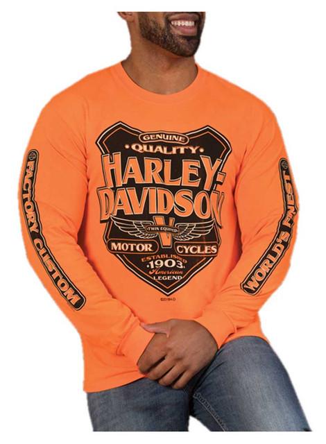 Harley-Davidson Men's Back Alley Long Sleeve Crew-Neck Shirt - Safety Orange - Wisconsin Harley-Davidson