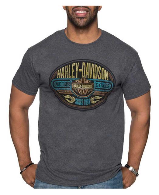 Harley-Davidson Men's Metal Plaque Poly-Blend Short Sleeve Crew T-Shirt, Gray - Wisconsin Harley-Davidson