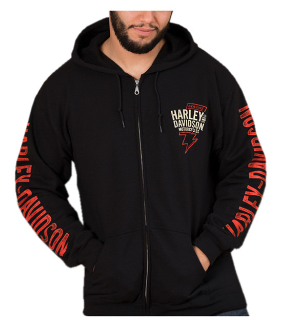 Harley-Davidson Men's Distressed Striker Zip-Up Poly-Blend Fleece Hoodie, Black - Wisconsin Harley-Davidson