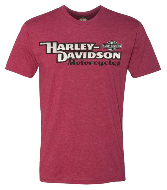 Harley-Davidson Men's Classic Style Poly-Blend Short Sleeve T-Shirt, Heather Red - Wisconsin Harley-Davidson