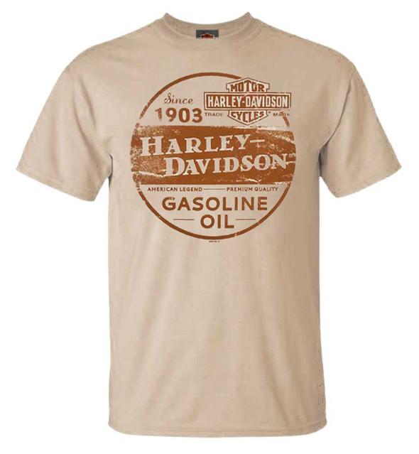 Harley-Davidson Men's Genuine Trademark Crew-Neck Short Sleeve T-Shirt, Tan - Wisconsin Harley-Davidson