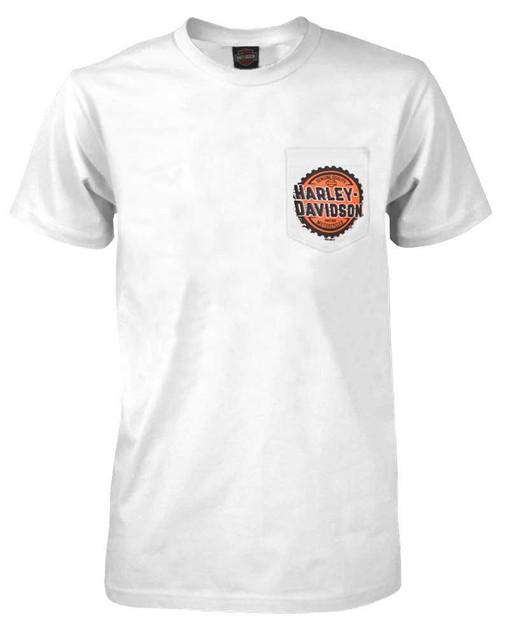 Harley-Davidson Men's Gears H-D Chest Pocket Short Sleeve Cotton T-Shirt - White - Wisconsin Harley-Davidson