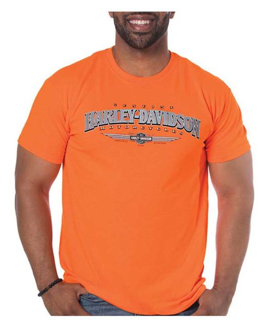 Harley-Davidson Men's Authentic Moto Ride Short Sleeve T-Shirt, Safety Orange - Wisconsin Harley-Davidson