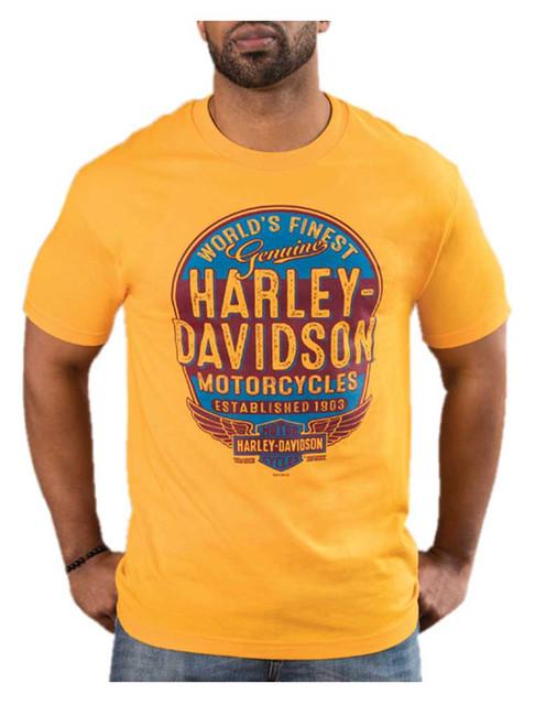 Harley-Davidson Men's Affiliate Retro Short Sleeve Crew-Neck T-Shirt - Gold - Wisconsin Harley-Davidson
