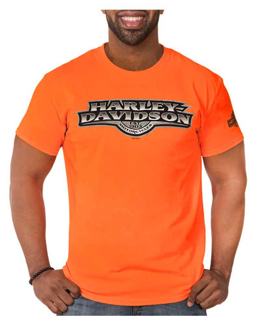 Harley-Davidson Men's Agile H-D Short Sleeve Crew Neck T-Shirt, Safety Orange - Wisconsin Harley-Davidson