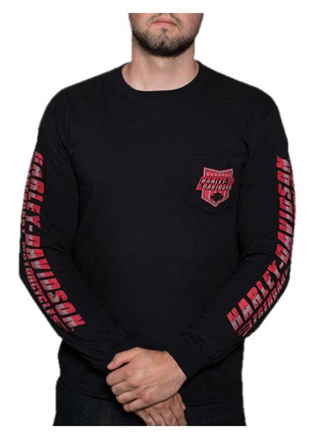 Harley-Davidson Men's Shield Rush Long Sleeve Chest Pocket Shirt - Black - Wisconsin Harley-Davidson