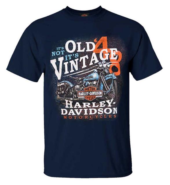 Harley-Davidson Men's It's Vintage H-D Crew-Neck Short Sleeve T-Shirt - Navy - Wisconsin Harley-Davidson
