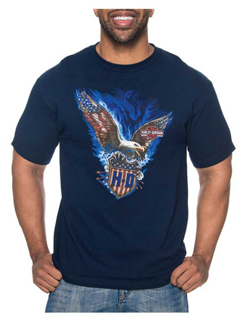 Harley-Davidson Men's Vicious Eagle All-Cotton Short Sleeve T-Shirt - Navy - Wisconsin Harley-Davidson