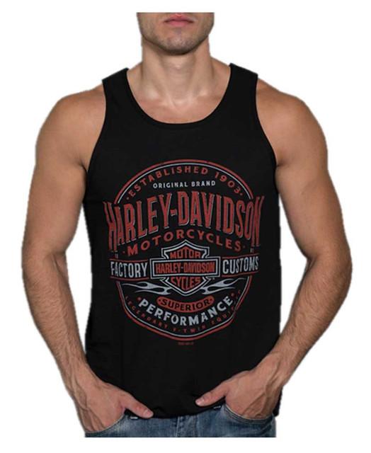 Harley-Davidson Men's Distressed Guidepost Sleeveless Tank Top - Solid Black - Wisconsin Harley-Davidson