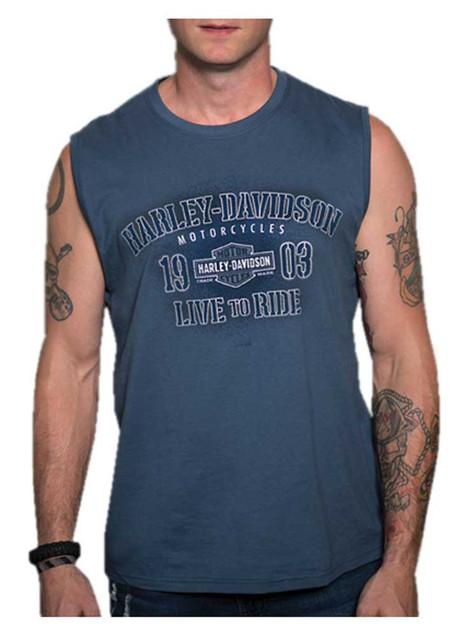 Harley-Davidson Men's Conquests Sleeveless Crew-Neck Muscle Shirt - Blue - Wisconsin Harley-Davidson