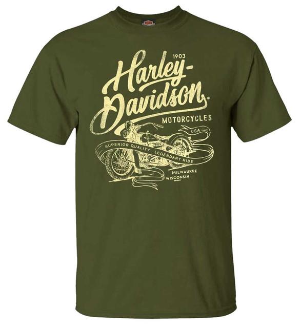 Harley-Davidson Men's Distressed Translate Crew-Neck Short Sleeve T-Shirt, Green - Wisconsin Harley-Davidson