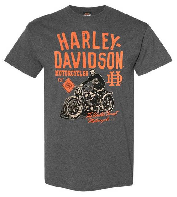 Harley-Davidson Men's Vintage Bright Lights Short Sleeve T-Shirt, Charcoal Gray - Wisconsin Harley-Davidson