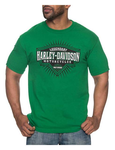 Harley-Davidson Men's Roadblock H-D Short Sleeve Crew-Neck T-Shirt, Kelly Green - Wisconsin Harley-Davidson