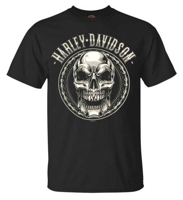 Harley-Davidson Men's Chromed Out Skull Short Sleeve Crew Neck T-Shirt, Black - Wisconsin Harley-Davidson