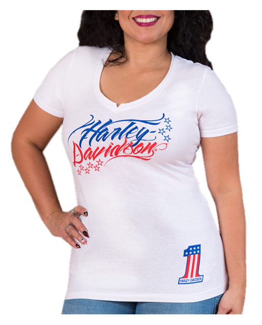 Harley-Davidson Women's Glittery Damsel Stars V-Neck Short Sleeve T-Shirt, White - Wisconsin Harley-Davidson