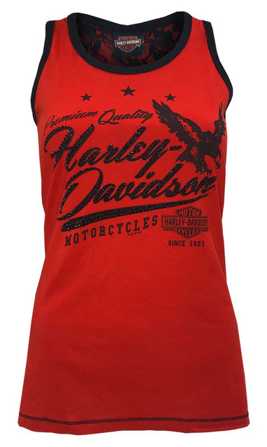 Harley-Davidson Women's Shred Raceback Tank Top w/ Lace Back Cut-Outs - Red - Wisconsin Harley-Davidson