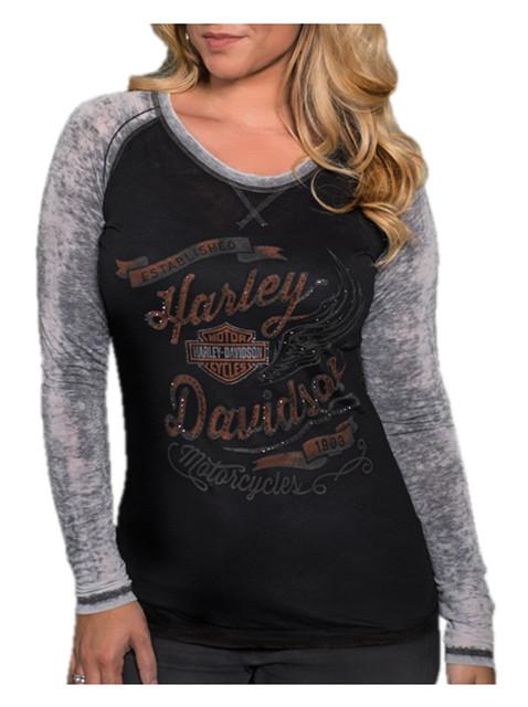 Harley-Davidson Women's Studded Bling Winger Long Sleeve Raglan Burnout Shirt - Wisconsin Harley-Davidson