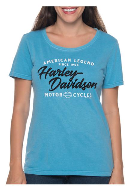 Harley-Davidson Women's Embellished Back Roads Short Sleeve Crew Neck Tee - Blue - Wisconsin Harley-Davidson
