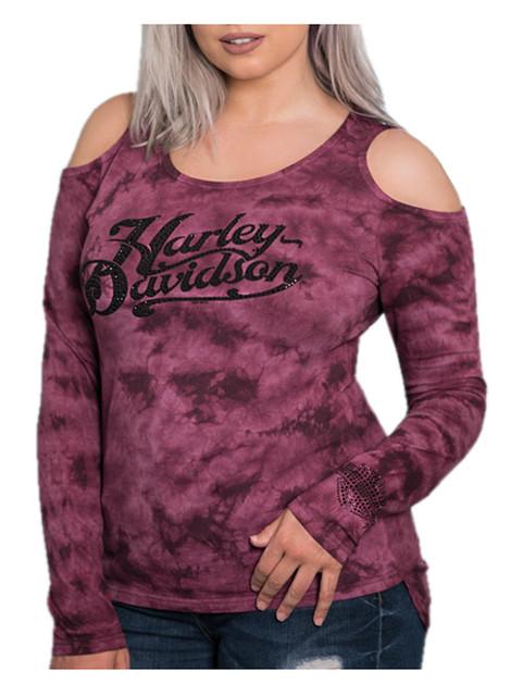 Harley-Davidson Women's Flowing Motion Bling Premium Cold Shoulders Tee, Tie-Dye - Wisconsin Harley-Davidson