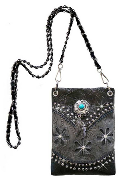 That's A Wrap Women's Turquoise Gem & Feather Charm Hip Bag w/Strap HB-W158-GREY - Wisconsin Harley-Davidson