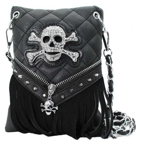 That's A Wrap Women's Quilt Stitch Rhinestone Skull Fringe Hip Bag HB-SK3S-BLACK - Wisconsin Harley-Davidson