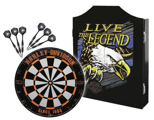 Harley-Davidson Legend Eagle Logo Dart Board Kit – Black Wooden Cabinet 61897 - Wisconsin Harley-Davidson