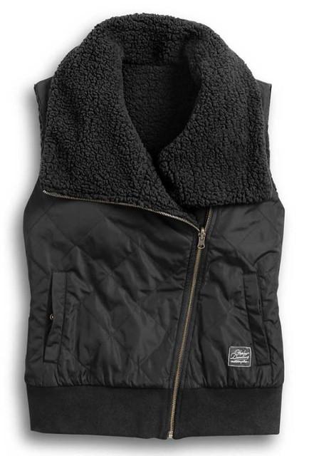 Harley-Davidson Women's Reversible Sherpa Fleece Biker Vest - Black 97422-20VW - Wisconsin Harley-Davidson