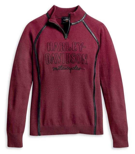 Harley-Davidson Women's Embroidered 1/4-Zip Ski Sweater, Red 96177-20VW - Wisconsin Harley-Davidson
