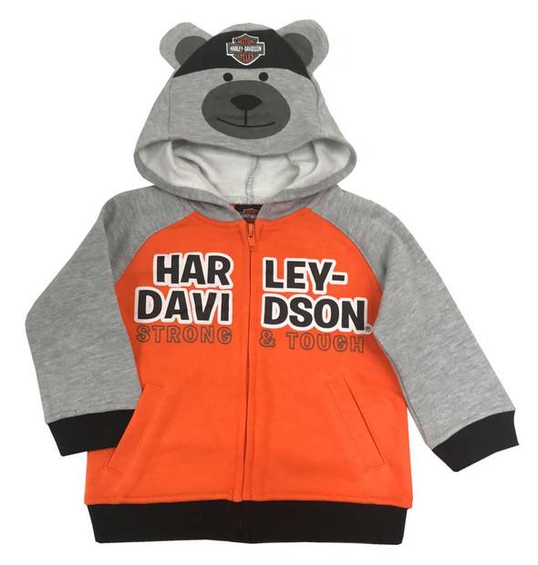 Harley-Davidson Baby Boys' Bear Hood Fleece Newborn Hoodie, Gray/Orange 6554907 - Wisconsin Harley-Davidson