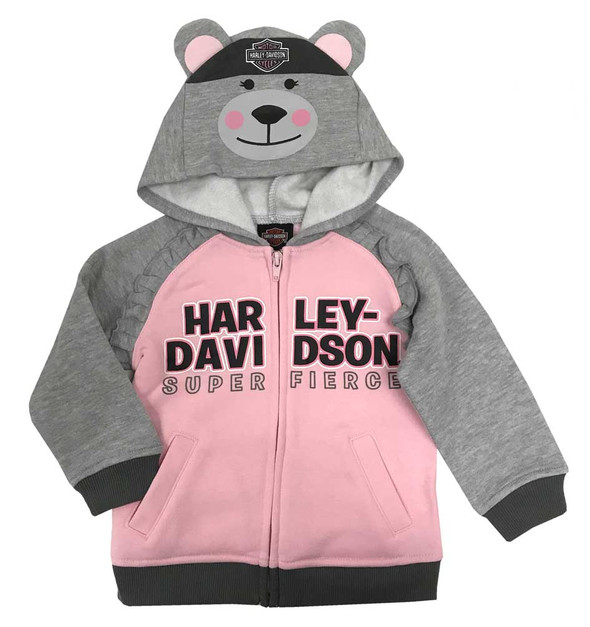 Harley-Davidson Baby Girls' Bear Hood Fleece Infant Hoodie, Gray & Pink 6514915 - Wisconsin Harley-Davidson