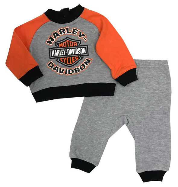 Harley-Davidson Baby Boys' 2-Piece Knit Top w/ 3D Bear Fleece Pants 2064933 - Wisconsin Harley-Davidson