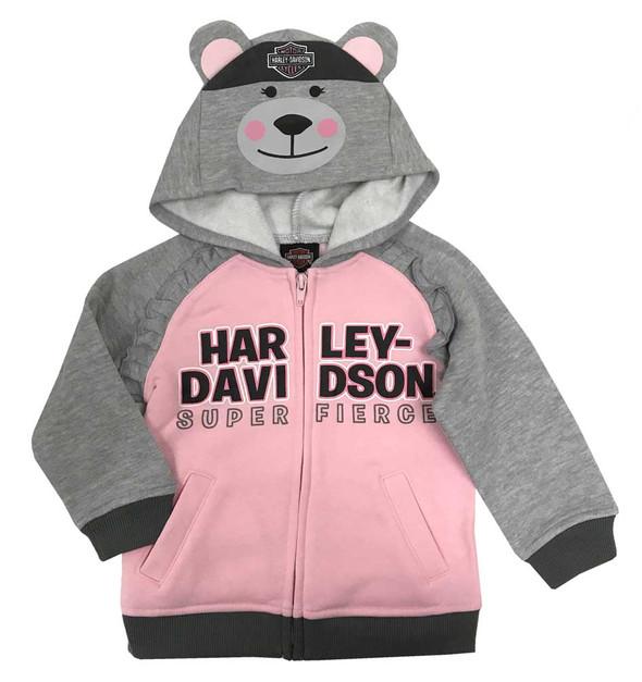 Harley-Davidson Baby Girls' Bear Hood Fleece Newborn Hoodie, Gray & Pink 6504915 - Wisconsin Harley-Davidson