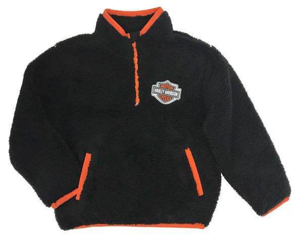 Harley-Davidson Big Boys' B&S 1/4-Zip Sherpa Pullover Sweatshirt, Black & Orange - Wisconsin Harley-Davidson