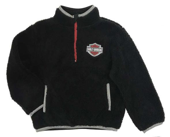 Harley-Davidson Little Girls' 1/4-Zip Sherpa Toddler Pullover - Black 6524917 - Wisconsin Harley-Davidson