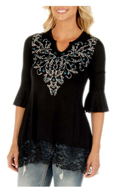 Liberty Wear Women's Embroidered Sapphire Vines 3/4 Sleeve Lace Tunic, Black - Wisconsin Harley-Davidson