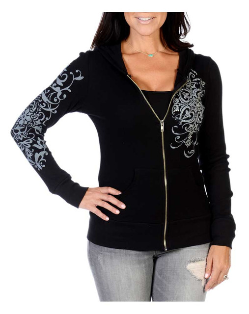 Liberty Wear Women's Vintage Embellished Zip-Up Light-Weight Hoodie, Black - Wisconsin Harley-Davidson