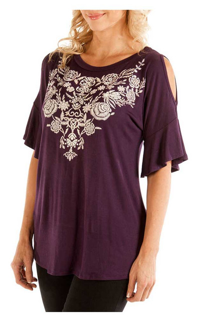Liberty Wear Women's Embroidered Floral Diamonds Cold Shoulder Tee, Purple - Wisconsin Harley-Davidson