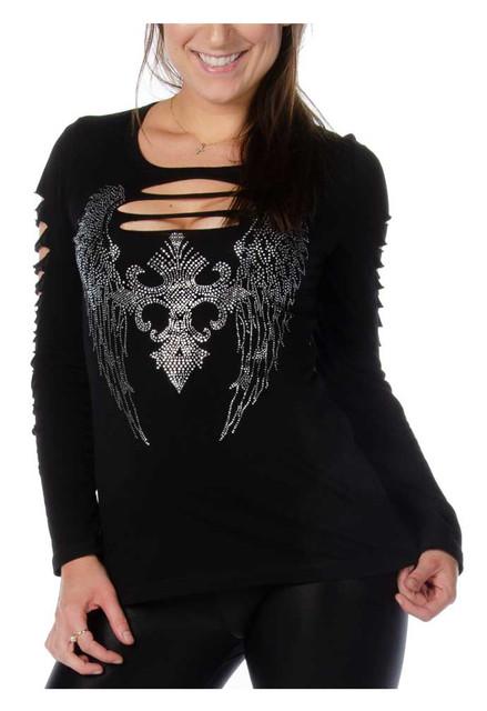Liberty Wear Women's Dark Angel Embellished Cut-Out Long Sleeve Shirt, Black - Wisconsin Harley-Davidson