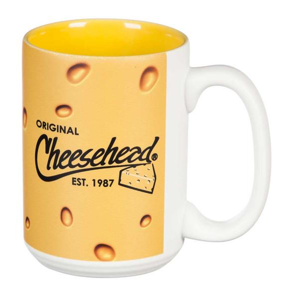 Original Cheesehead Mighty Cup 2-Tone Ceramic Mug - Gold & White, 15 oz. 3MM5070 - Wisconsin Harley-Davidson