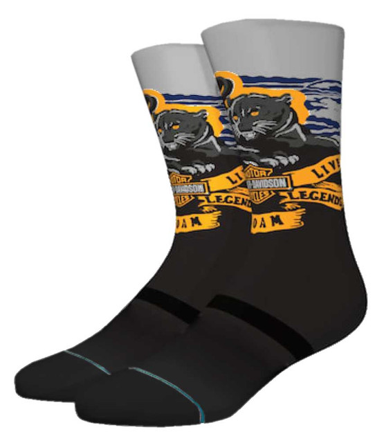 Harley-Davidson Stance Legends Roam Crew Height Nylon Riding Socks - Black/Gray - Wisconsin Harley-Davidson