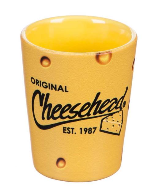 Original Cheesehead Ceramic 2-Tone Shot Glass - Gold Finish, 2 oz. 3TTS5070 - Wisconsin Harley-Davidson